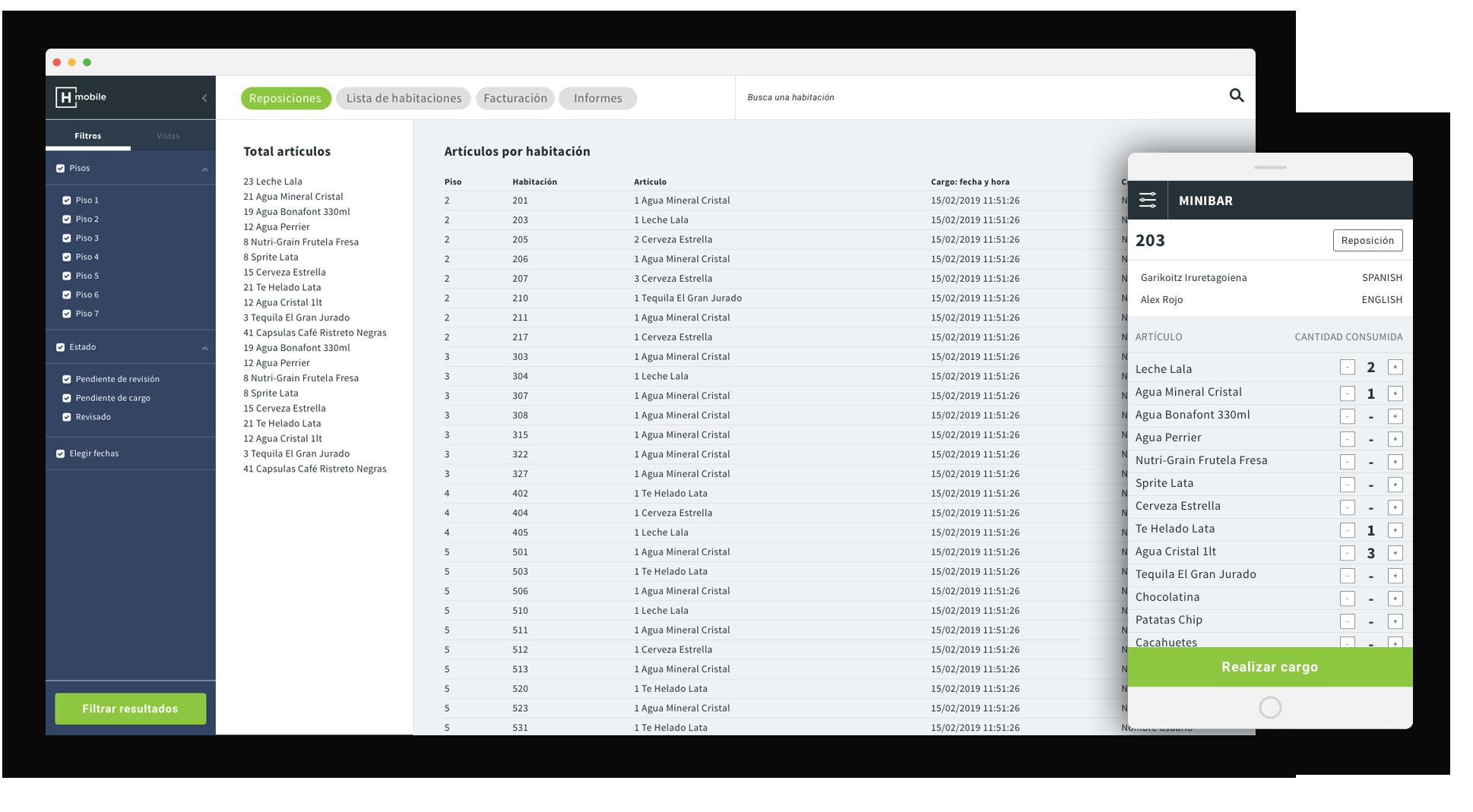 App Software operaciones hotel minibar
